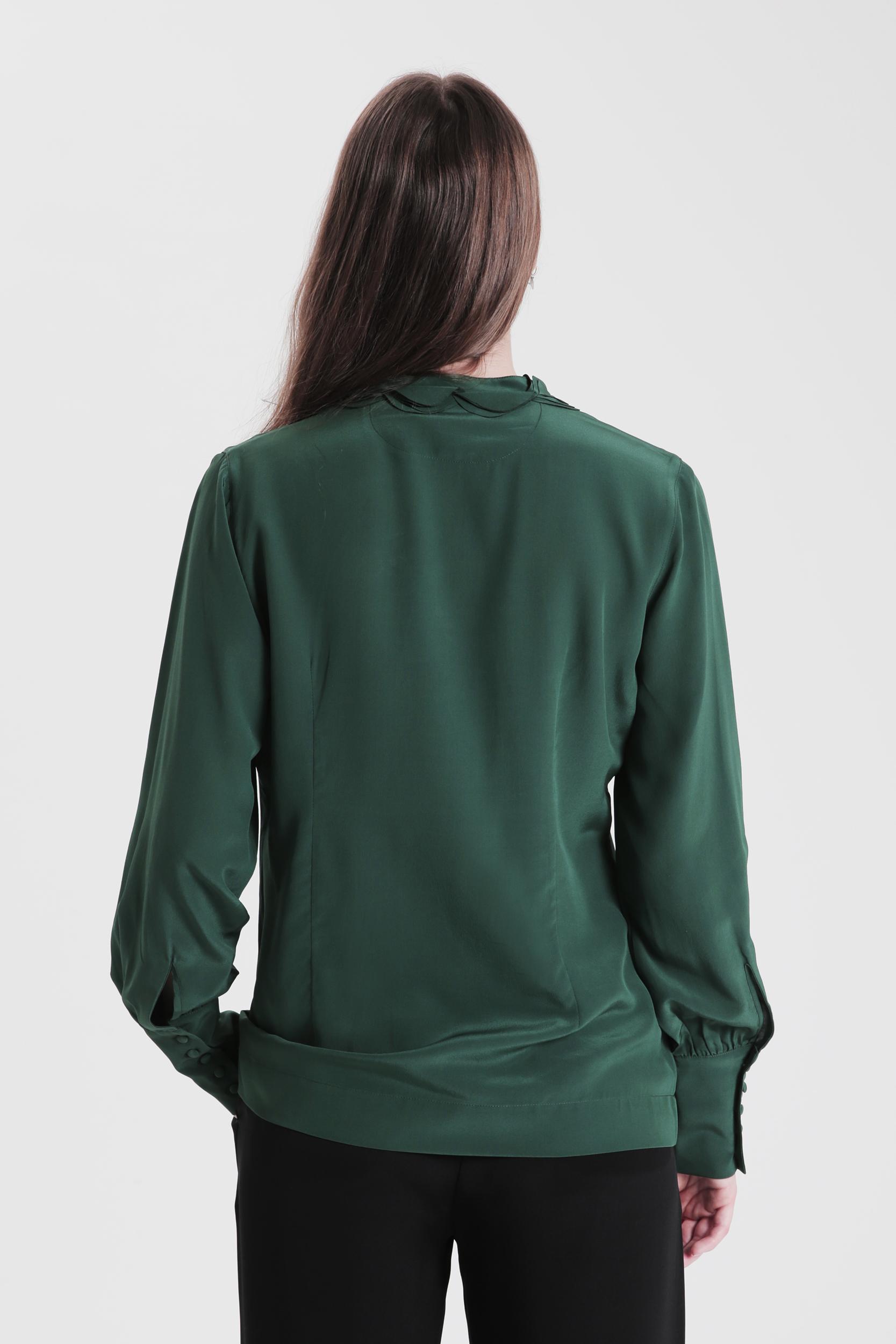 dark green SOFIE SILKEBLUSE  tirillm  Bluser - Dameklær er billig